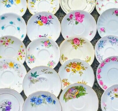 Job Lot of 5 Vintage Mismatched Saucers ONLY China Mix Party Wedding NO TEA CUPS