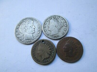 job lot USA coins cents 1863 1880, 5 cents 1885, quarter 25 cents 1893 silver
