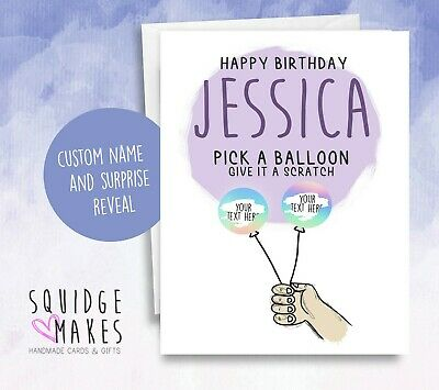 Personalised Birthday Scratchcard * Secret reveal * Surprise Scratch off Balloon