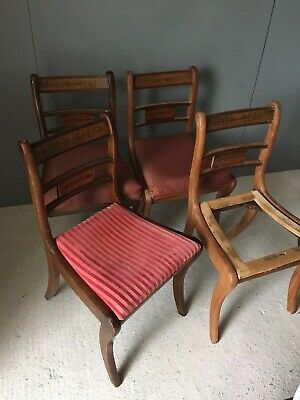 Antique Style Set Four Reprodux Brass Inlaid Oak Vintage Dining Chairs Project
