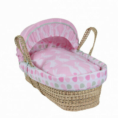 Clair de Lune Pink Baby Girl Rabbits Palm Moses Basket + Natural Folding Stand