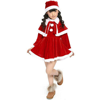 3Pcs Toddler Kids Girls Christmas Clothes Costume Party Dresses+Shawl+Hat Outfit