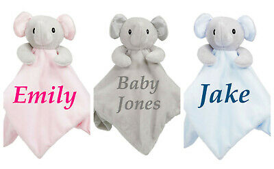 Personalised Baby Elephant Comforter Blanket Newborn Birth Soft Gift Embroidered