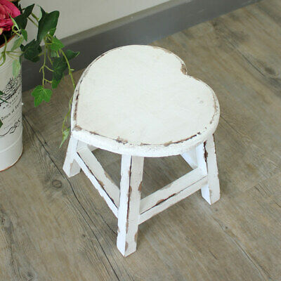 Small white painted wooden heart stool shabby french chic country girl's bedroom