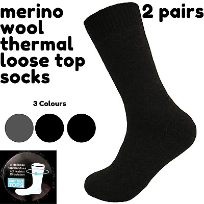 Merino Wool Men's Loose Top Thermal Socks Diabetic Comfort Circulation - 2 Pairs