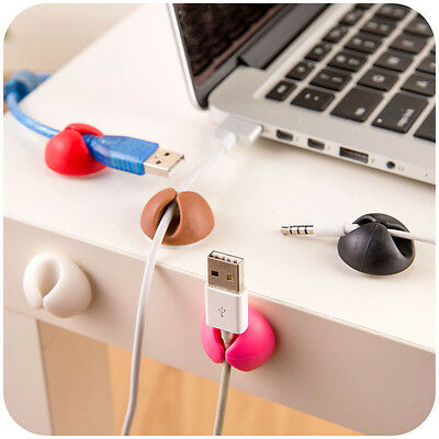 1-6x Cable Clips Desk Organiser Wire Table Drop Cord Ties Tidy Self-Adhesive