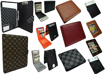 Daimer CUSTOM GIFT SET Check WALLET A4 FOLDER Steel MONEY CLIP Faux Leather NEW