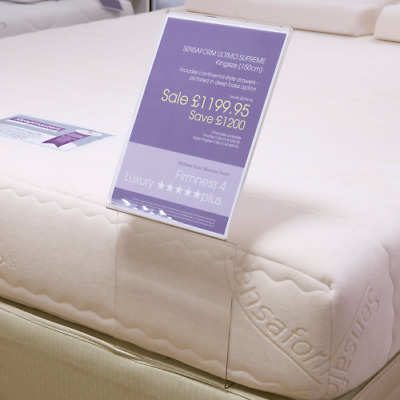 Acrylic Bed Sign. Mattress Poster Holder. Acrylic POS. Bed Sign. A4 and A3 Sizes