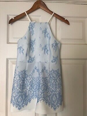 Girls New Look Playsuit Age 9 Blue/cream Perfect Condition!