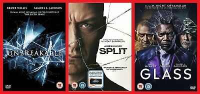 Unbreakable, Split & Glass DVD Triple Pack All 3 Films Bruce Willis James McAvoy