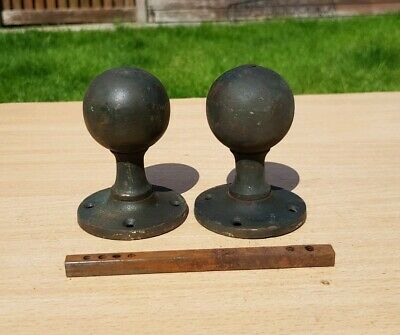 Pair Of Old Reclaimed antique ball shaped Brass Door Knobs