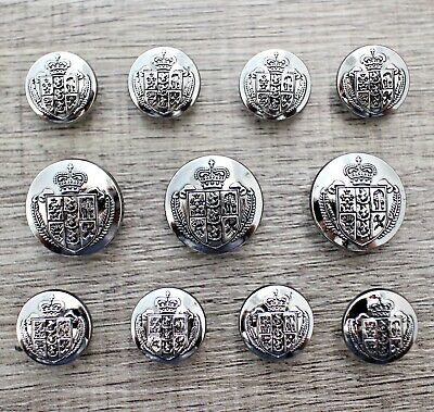 J265 Lot 11 15/20mm Anti Silver Metal Blazer Suit Set Button Bespoke Shield