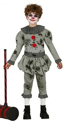 Boys IT Pennywise Fancy Dress Crazy Clown Kids Halloween Costume Ages 3-12