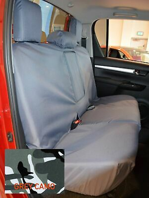 Black Front Rear Waterproof Seat Covers FOR Toyota Hilux Invincible 2016+