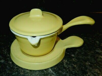 Vintage Descoware Cast Iron Enamel 3 Pc Butter Warmer ~Vgc~Fast Shipping!