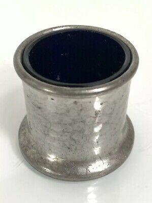 Vintage Pewter Inkwell / Mustard Pot with Blue Glass Liner