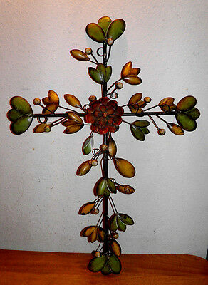 "Xl 26"" Metal Cross, Religious Flower Garden Decor & Christian Price To Sell Bin"