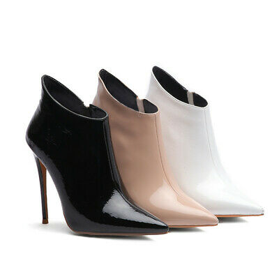 Patent-leather womens ankle boots ladys sexy high heels pumps pointed toe shoes