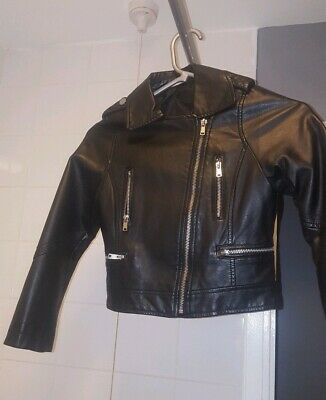 Girls Leather Look biker Jacket Age 6-7 Years