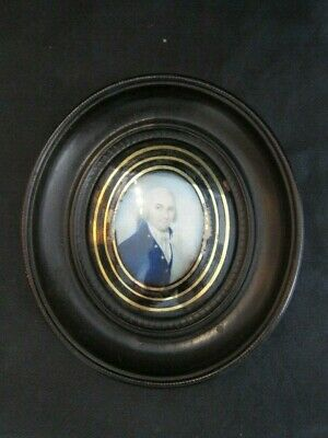 Antique French Miniature Painting Hand Painted noble man Portrait, 19th century