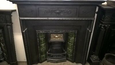 Victorian cast iron Coalbrookdale fireplace  surround and Victorian tiled insert