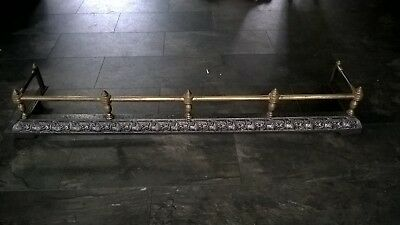 Victorian cast iron and brass fireplace fender. free Courier delivery