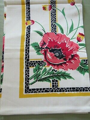 "Vintage 1950s RED POPPIES Tablecloth 49x52"" Yellow & Black Mid Century"