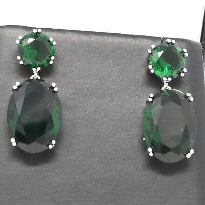 Large 8 Ct Oval Green Emerald Earring Wedding Engagement Birthday Jewelry Gift