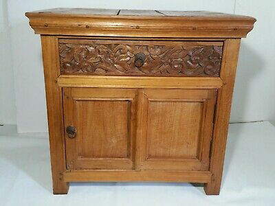 Antique Mission Arts & Crafts Wood Cabinet End Table (Storage, Door, Drawer)