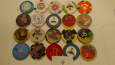 CASINO CHIPS  LOT 20 Las Vegas & OTHERS OBSOLETE  of 20 QTY a9