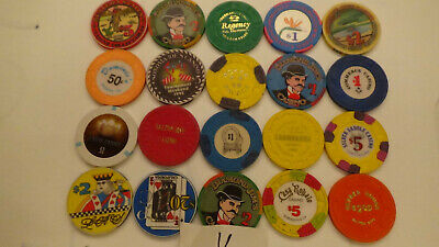 CASINO CHIPS  LOT 20 Las Vegas & OTHERS OBSOLETE  of 20 QTY a11