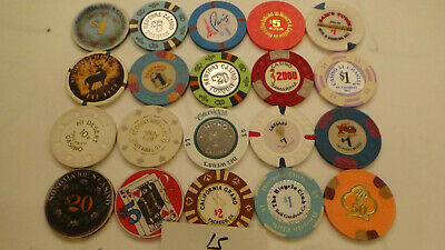 CASINO CHIPS  LOT 20 Las Vegas & OTHERS OBSOLETE  of 20 QTY a15