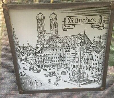 Medieval Engraving on Glass with Chain of Munich Germany Cathedral Market 4x4'