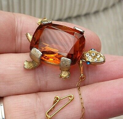 Vintage Art Deco Jewellery Amber Crystal Tortoise Turtle Animal Gold Brooch Pin