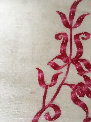 Beautiful French Unused Vintage Linen Emb