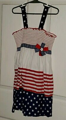 Bonnie Jean Sz 6 little girls sun dress red white blue 4th of July Super Cute