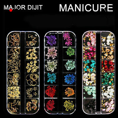 3D Beautiful  Flower Mixed Dried Flowers Nail Art DIY Bottle Manicure Tips Decor