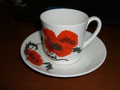 Wedgwood (Susie Cooper) Cornpoppy Can Shaped Cup & Saucer Set