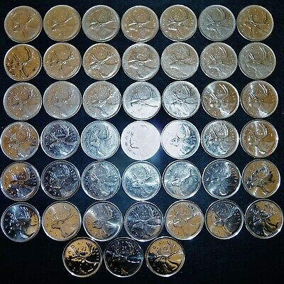 45 Canada 25 Cents Caribou 1968-2018, All Different All Dates Not Included Lot R