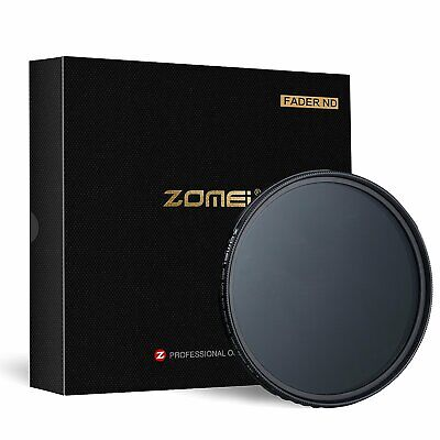 "Zomei 77mm Variable Fader Adjustabl Neutral Density ND2-ND400 Filter NO ""X"" Spot"