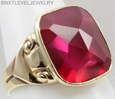Antique Art Deco SIGNED 12ct Faceted Top Cushion Ruby 10k Solid Gold Men's Ring