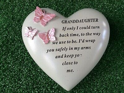 Granddaughter Heart Shaped Butterfly Ornament, Grave Memorial Remembrance Gift