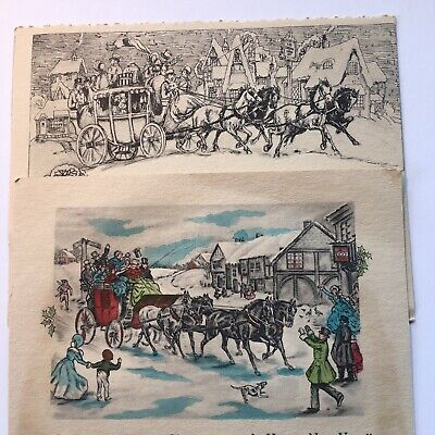 Lot of 2 Vintage Christmas Greeting Cards 1930's Stage Coach & Horses, Village