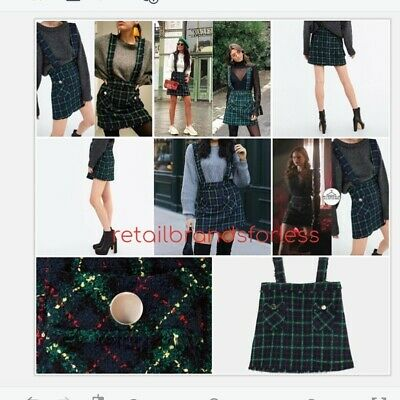 246a3736e2 Zara Tweed Pinafore Overall Skirt Check As Seen On Riverdale sz S Ref. 8600/