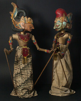 Two antique Indonesian Wajang Golek dolls carved wooden rod hand puppets Wayang