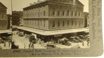 BOSTON MASS  FANEUIL HALL, DELIVERY TRUCKS,  BUILDINGS  STEREOVIEW  card