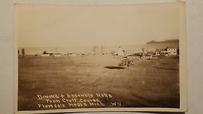 Rppc Postcard FLORIDALE MEALS MI  DINING ASSEMBLY HALL GOLD COARSE, TOWN VIEW