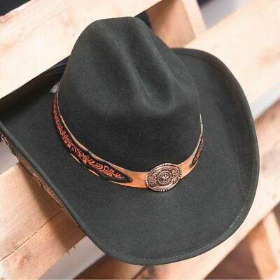 d1e466eb4 STAMPEDE HATS - Lone Star Black Felt Western Hat with Brown Embossed Trim