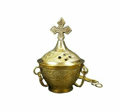 "Carved Cross Hanging Brass Incense Burner 4"" Censer Resin Church Vestment Altar"