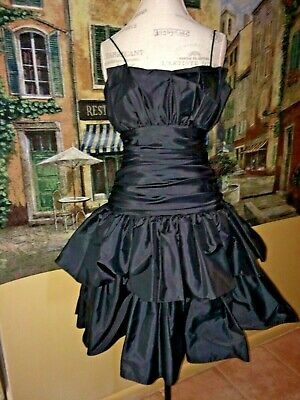 2c38c9b6ce16 Vintage Black Taffeta Ruffled Ruched Waistline Short 80s Prom Dress 7-8